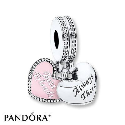 NEW Authentic Pandora S925 Best Friends Charms, Pink Enamel & Clear CZ (Best Pandora Charms)