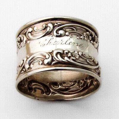 Gorham Rose Scroll Napkin Ring Sterling Silver Mono