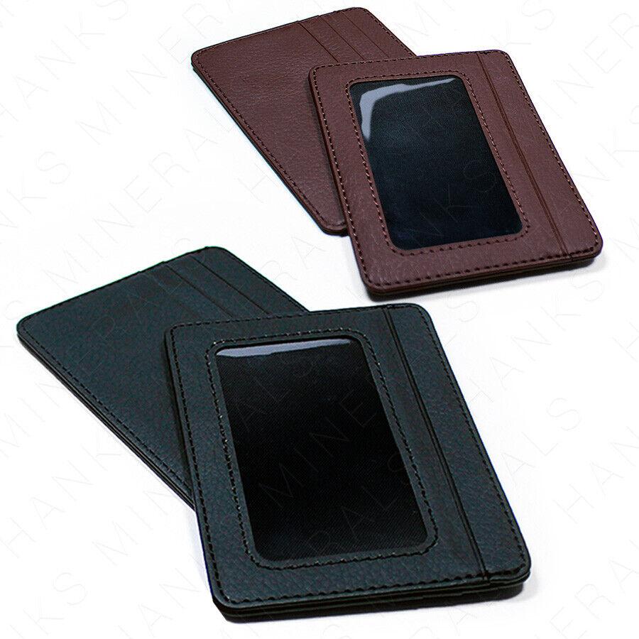 Mens Slim Leather Wallet Card Holder Window Credit Cash ID P