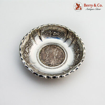 Ornate Dish Maria Theresa Thaler Coin 800 Silver 1890-1920