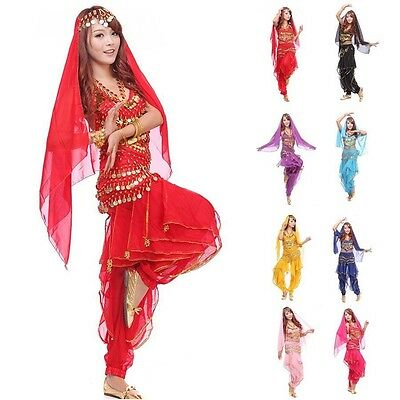 Belly Dance Costume Outfit 4 Pics Top+ Pants + Hip Scarf & Head Scarf with Coins