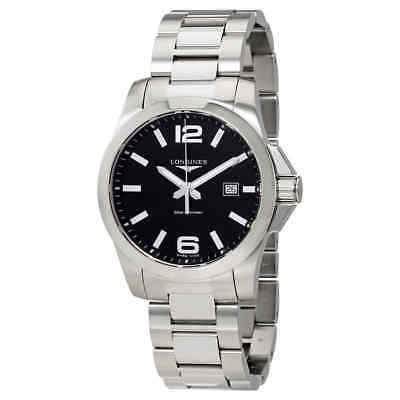 Longines Conquest Black Dial Stainless Steel Men's Watch L37604566