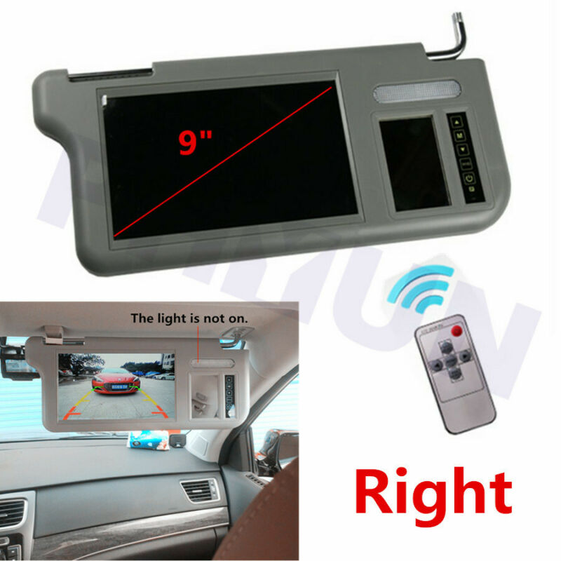 "9"" Car 2CH Video Sun Visor Monitor Mirror Right For DVD VCD TV Parking Camera 1x"