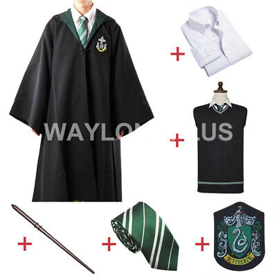 Malfoy Kostüme (Slytherin Malfoy Robe Cloak Full Wizard Costume With Accessory Halloween Party)