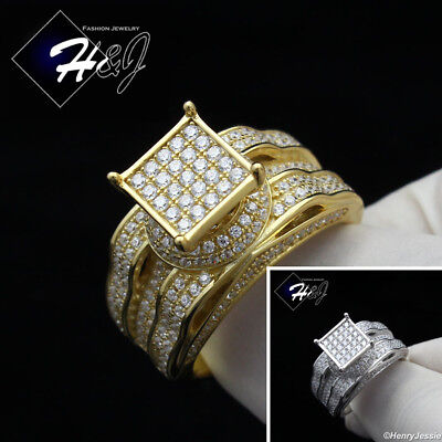 WOMEN 925 STERLING SILVER LAB DIAMOND GOLD/SILVER ENGAGEMENT (Sterling Women)