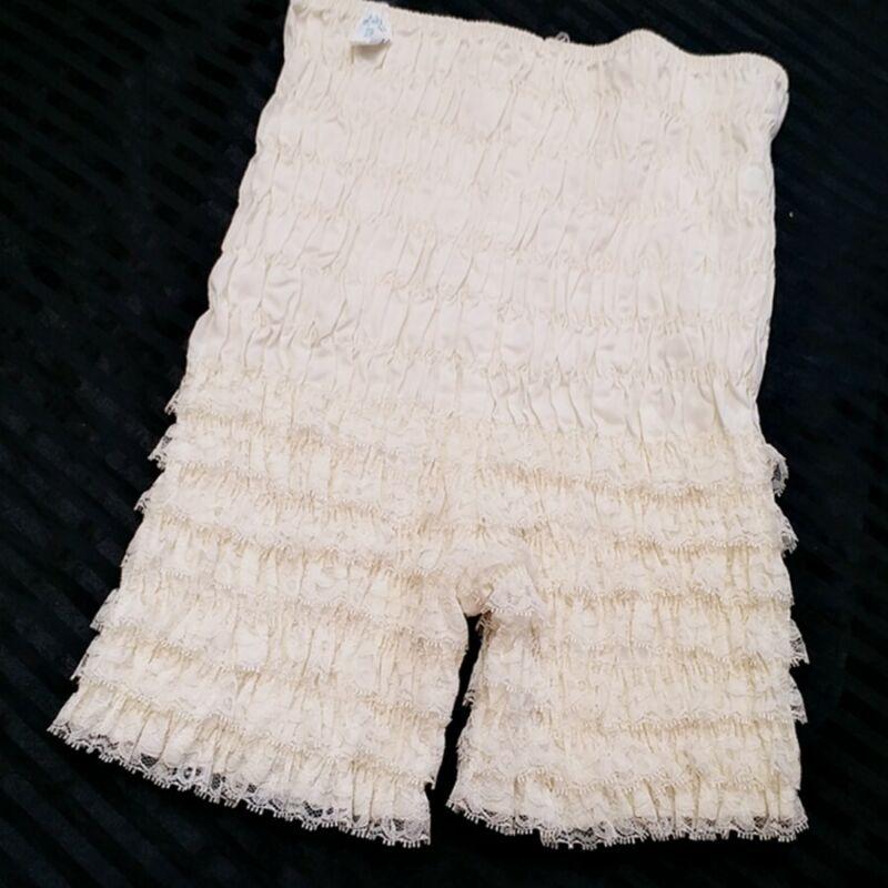 PANTS..white..COTTON BLEND..LACE RUFFLES..square dance pants