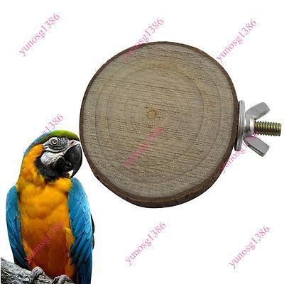 Round Wooden Squirrel Parrot Bird Perch Stand Platform Pet Bird Hanging Toy Yuno