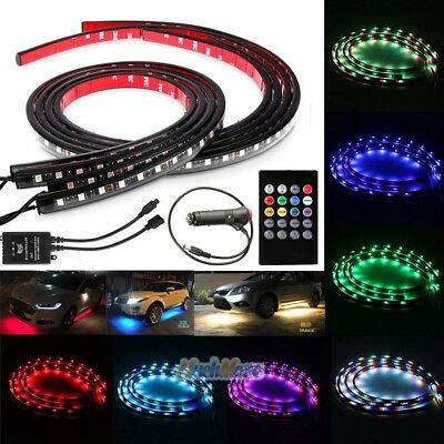 7 Color LED Strip Under Car Tube Underglow Underbody System Neon Lights Kit USA