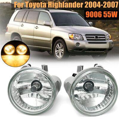 Pair Clear Bumper Driving Fog Lights for Toyota Highlander 2004 2005 2006 2007