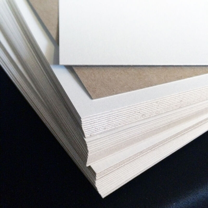 """22 pt Chipboard - pack of 50 - white on one side 8.5x11"""" sheets 0.022 scrapbook"""