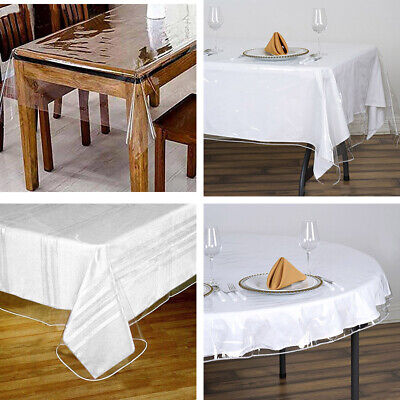 Clear Plastic Table Cover (Clear PLASTIC Vinyl TABLECLOTH Protector Table Cover Catering Home Party)