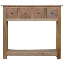 Rustic Farmhouse Four Drawer Console Table - Mango Wood