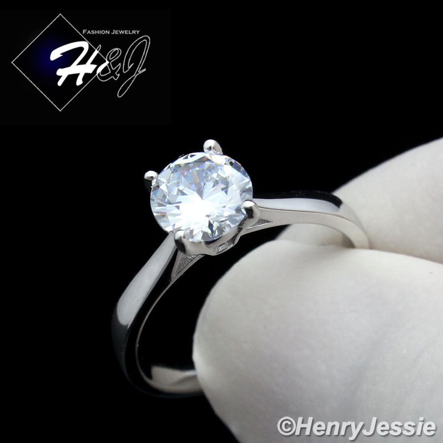 WOMEN 925 STERLING SILVER 1CT ROUND CUT CZ SIMPLE ENGAGEMENT