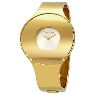 Calvin Klein Seamless Silver Dial Yellow Gold-tone Medium Bangle Ladies Watch
