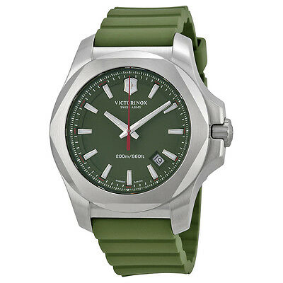 Victorinox Swiss Army Inox Green Dial Green Rubber Mens Watch 241683.1