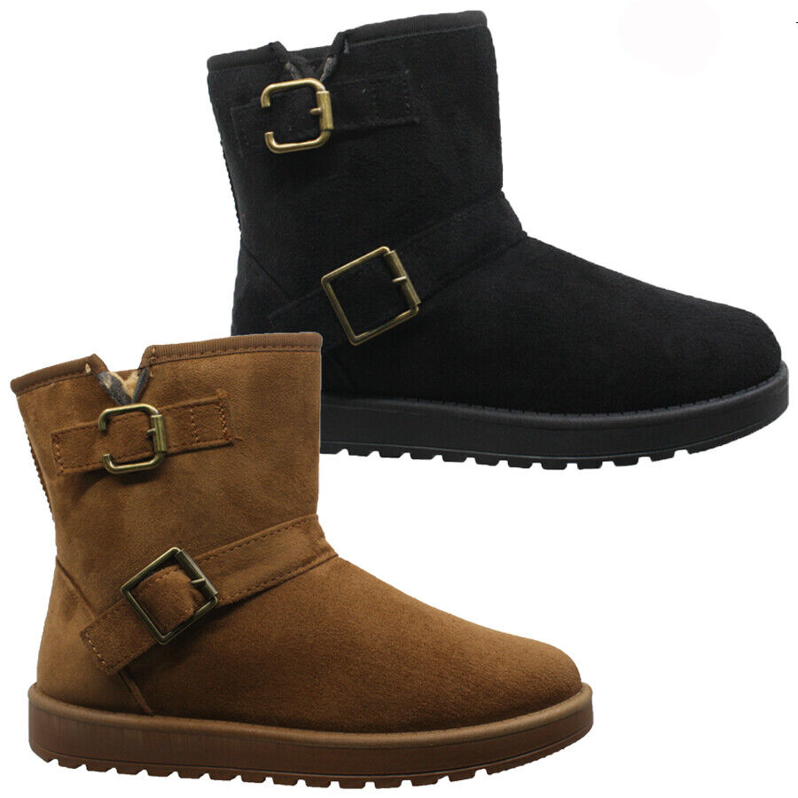 New Women/'s Mid Calf Winter Snow Fur Suede Fashion comfortable Boots Size 5-10