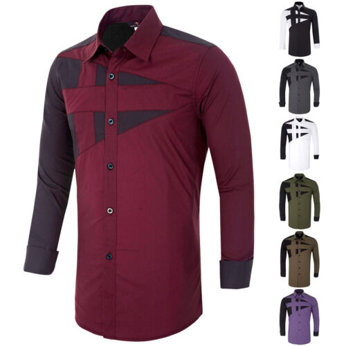 USPS SHIPPING Fashion Men's Casual Shirts Slim Fit Long Sleeve Dress Shirts Tops