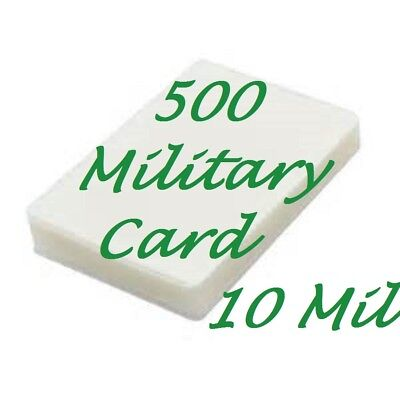 500 Military Card Laminating Laminator Pouches Sheets 10 Mil 2-58 X 3-78 Gloss