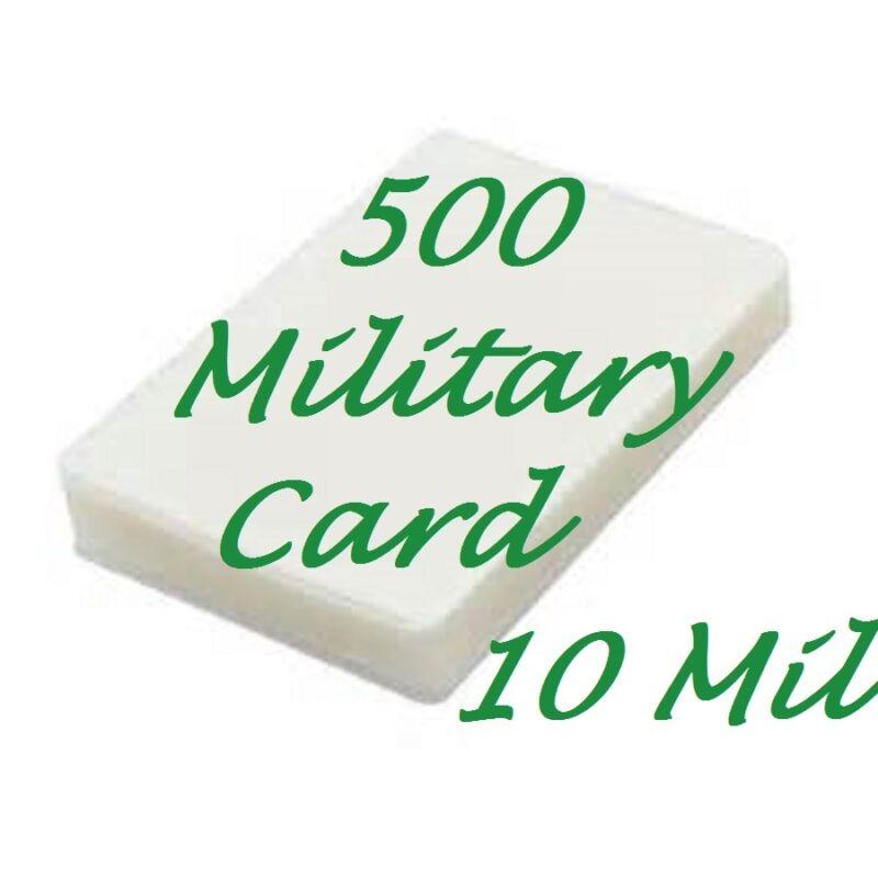 500 MILITARY CARD Laminating Laminator Pouches Sheets 10 Mil 2-5/8 x 3-7/8 Gloss