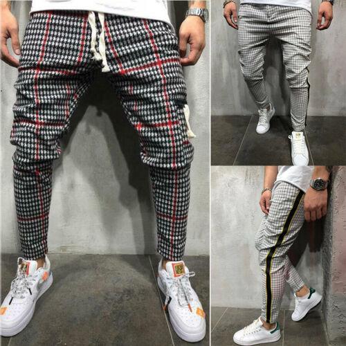 Men Casual Trousers Jogger Fashion Stripe Plaid Pattern Pants Sweatpant Slim Fit