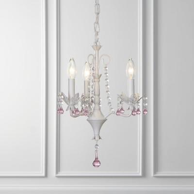 ~Gorgeous & New~3-Light Antique white Vintage Crystal Candle Chandelier # B10097 Antique White Crystal Chandelier