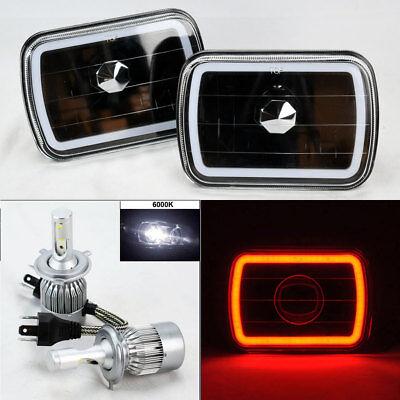 """7X6"""" Black Glass CCFL Red Halo Headlights Pair w/ 6K 36W LED H4 Bulbs Jeep"""