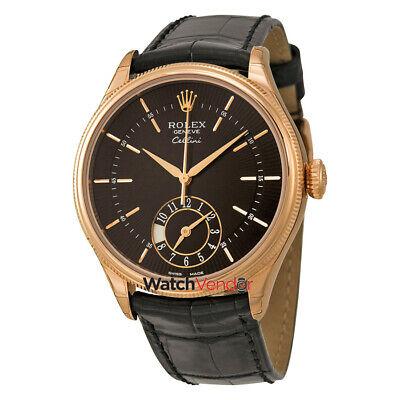 Rolex Cellini Dual Time Black Dial 18kt Everose Gold Men's Watch 50525BKSBKL (Cellini Time)