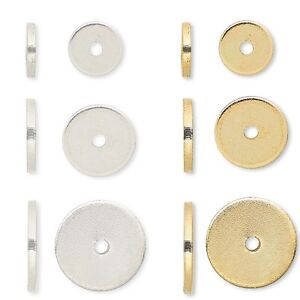 Lot-of-100-Steel-Metal-Smooth-Flat-Spacer-Disc-Heishi-Rondelle-Beads-Small-Big