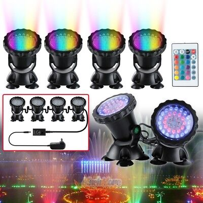 Submersible 36 LED RGB Pond Spot Lights Underwater Pool Fountain IP68+IR Remote - Led Fountain Light
