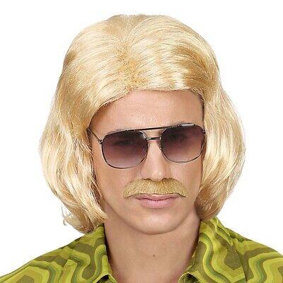 BLONDE HERREN DUDE PERÜCKE 70er 80er Jahre Hippie Night Fever Kostüm Motto Party