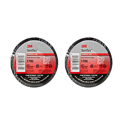 2 Rolls 3m Temflex 1700 Vinyl Electrical Tape 60 Feet X 34 Black Free Ship