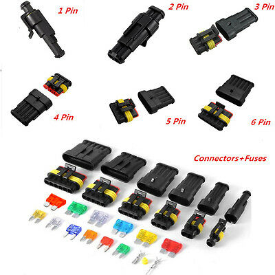 Car Electrical Wire Connector Terminal 1/2/3/4/5/6Pin Way Blade Fuses Waterproof