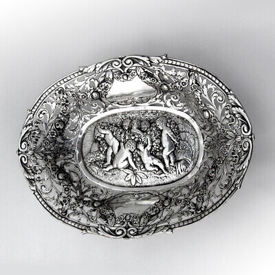 Hanau Repousse Openwork Oval Serving Bowl 800 Standard Silver