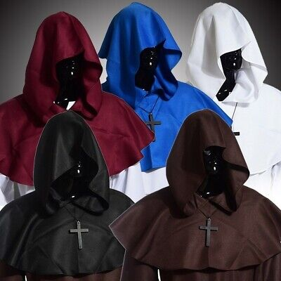 Unisex Medieval Cowl Hat Halloween Hooded 2 Colors Fancy Costume Cross Necklace - Mens Gothic Halloween Costumes