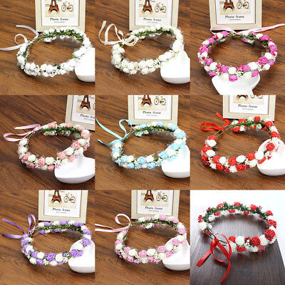 Womens Double Flower Crown Foam Hairband Garland Headband Wreath Wedding Party
