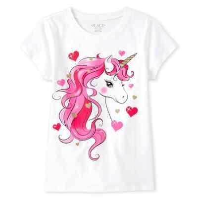 NWT The Childrens Place Unicorn Hearts Girls Short Sleeve Valentintes Shirt