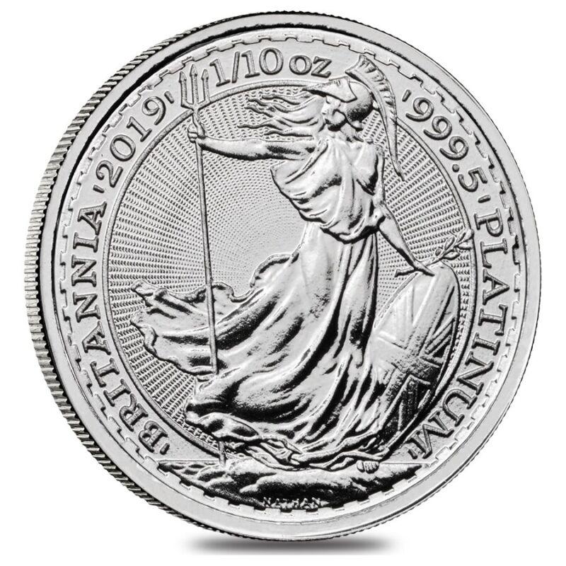 2019 Great Britain 1/10 oz Platinum Britannia Coin .9995 Fine BU