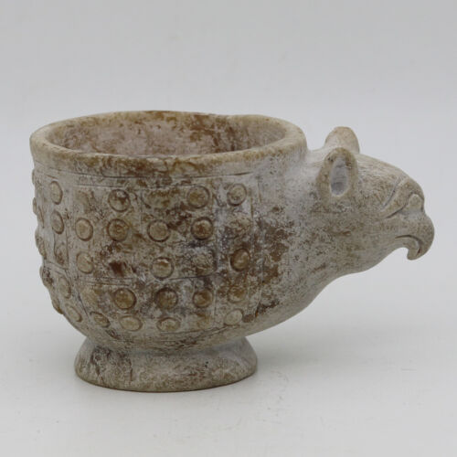 Chinese Oriental culture hand carved jade cup with grains bird head handle C957