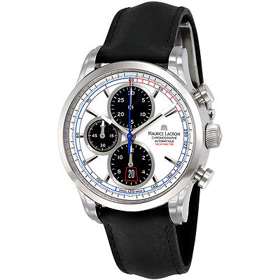 Maurice Lacroix Pontos Automatic White Dial Black Leather Mens Watch