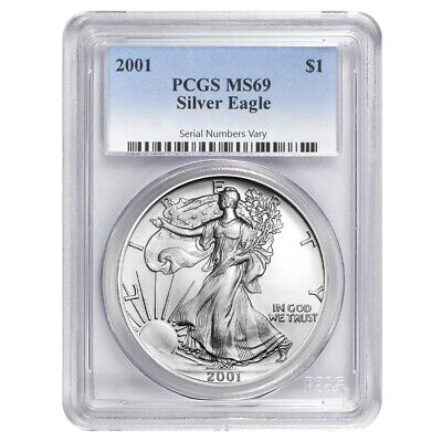 2001 1 oz Silver American Eagle $1 Coin PCGS MS 69