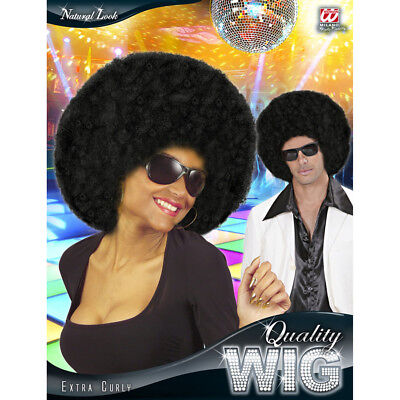 DELUXE AFRO PERÜCKE schwarz 70er Jahre Damen Herren Afroperücke Kostüm JGA 06820