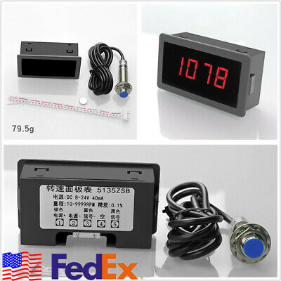 Usa 4 Digital Red Led Tachometer Rpm Speed Meter W Npn Hall Proximity Sensor Set