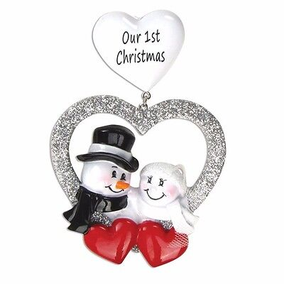 NEW OUR 1st CHRISTMAS BRIDE GROOM SNOWMAN Gift Personalized Ornament FREE -