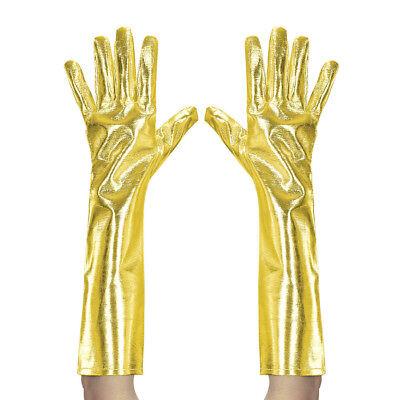 GOLDENE METALLIC HANDSCHUHE # Karneval Fasching Disko Party Kostüm Zubehör 34242