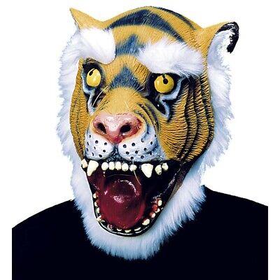 LATEX TIGER MASKE # Tigermaske Löwen Katzen Maskottchen Kostüm Party Deko 8374
