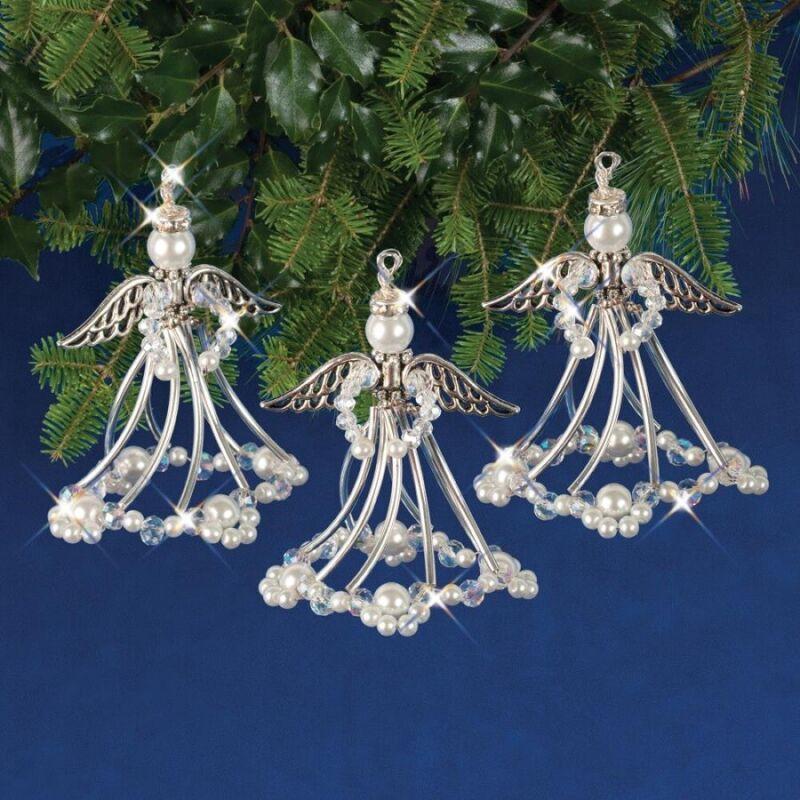Nostalgic Christmas Beaded Crystal Ornament Kit Silver Angels makes 3