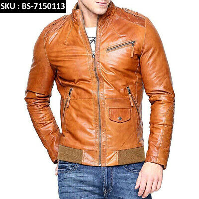Men Fashion Cowhide Tan Brown Leather Motorcycle Slim fit Biker Bomber (Men Cowhide Leather)