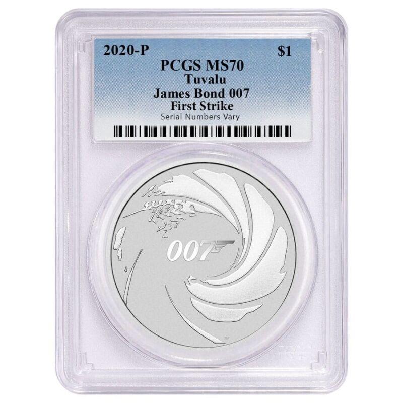 2020 1 oz Tuvalu James Bond 007 Silver Coin PCGS MS 70 First Strike
