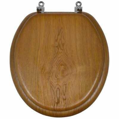 AquaSource Oak Durable Chrome Standard Quality Metal And Wood Round Toilet Seat