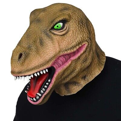 DINO SAURIER LATEX MASKE # Karneval Urzeit Kostüm Party T-Rex Raptor Deko - Raptor Kostüm
